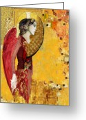Gold Mixed Media Greeting Cards - My Angel Series02 Greeting Card by Maria Szollosi