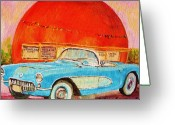 Hebrew Delis Greeting Cards - My Blue Corvette at the Orange Julep Greeting Card by Carole Spandau