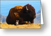 Buffalo Mixed Media Greeting Cards - My Bodyguard Greeting Card by Snake Jagger