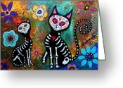 Cartera Greeting Cards - My Cats Dia De  Los Muertos Greeting Card by Pristine Cartera Turkus
