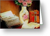 Typewriters Greeting Cards - My Classic Royal Typewriter Memories Of Hemingway   Greeting Card by Carole Spandau
