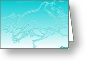 Ocean Art Greeting Cards - My Dolphin Pal Greeting Card by Ocean