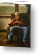 Elderly Painting Greeting Cards - My Father Greeting Card by Wayne Daniels