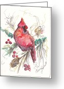 Holiday Notecard Greeting Cards - My Favorite Cardinal Greeting Card by Michele Hollister - for Nancy Asbell