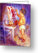 Retratos Greeting Cards - My Favorite Painter Greeting Card by Estela Robles