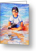 Retratos Greeting Cards - My Favorite Pirate Greeting Card by Estela Robles