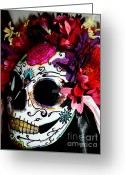 Bright Sculpture Greeting Cards - My First Sugar Skull Mask Greeting Card by Mitza Hurst