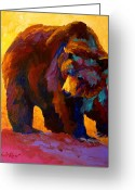 Bears Greeting Cards - My Fish - Grizzly Bear Greeting Card by Marion Rose