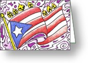 Puerto Rico Drawings Greeting Cards - My Flag Greeting Card by Tommy Villarreal