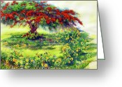 Reproducciones Tropicales Greeting Cards - My Flamboyant Tree Greeting Card by Estela Robles