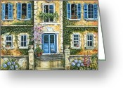Stucco Walls Greeting Cards - My French Villa Greeting Card by Marilyn Dunlap