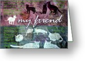 Kitty Digital Art Greeting Cards - My Friend Cats Greeting Card by Evie Cook