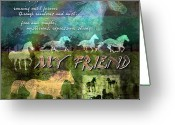 Running Horse Greeting Cards - My Friend Horses Greeting Card by Evie Cook