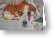Lazy Dogs Greeting Cards - My friends dog Greeting Card by Laura Bolle