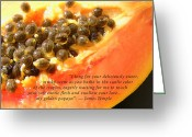 James Temple Greeting Cards - My Golden Papaya Greeting Card by James Temple