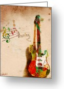 Old Paper Greeting Cards - My Guitar Can SING Greeting Card by Nikki Marie Smith