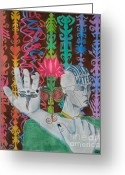 Buddha Pastels Greeting Cards - My hand My eyes Greeting Card by Sebastian Gonzalez
