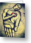 True Feelings Greeting Cards - My Heart in Your Hand Greeting Card by Paulo Zerbato