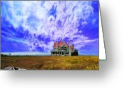 Storm Digital Art Greeting Cards - My house on a hill Greeting Card by Jeff Burgess