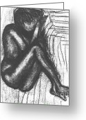 African American Art Drawings Greeting Cards - My Humble Spirit Base Drawing Greeting Card by Angela L Walker