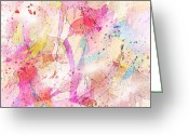 Female Fairy Abstract Greeting Cards - My imaginary friends Greeting Card by Rachel Christine Nowicki