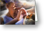 Head Greeting Cards - My Little Butterfly Greeting Card by Bob Salo