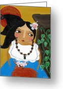 Island Cultural Art Greeting Cards - My Little Red Carabao Greeting Card by Jennifer R S Andrade