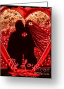 Couples Mixed Media Greeting Cards - My Love in Metallics Greeting Card by Tisha McGee