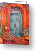 Stucco Walls Greeting Cards - My Neighbors Blue Door  Greeting Card by L L Morgan