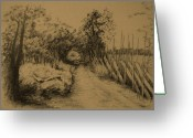 Forgotten Drawings Greeting Cards - My Own Privet Country Road Greeting Card by Dagmara Czarnota