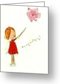 Little Girls98 Greeting Cards - My Pig is Flying Greeting Card by Ricky Sencion