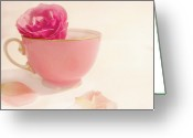 Teacup Digital Art Greeting Cards - My Pink Teacup Greeting Card by Margaret Hormann Bfa