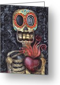 Skull Painting Greeting Cards - My Sacred Heart Greeting Card by  Abril Andrade Griffith