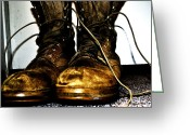 Dirty Dog Greeting Cards - My Soldiers Boots Greeting Card by Carrie Armstrong