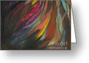 Fire Pastels Greeting Cards - My Soul on Fire Greeting Card by Ania M Milo