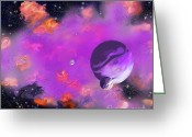 2hivelys Art Greeting Cards - My Space Greeting Card by Methune Hively