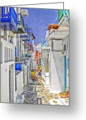 Cobblestone Street Greeting Cards - Mykonos - Greece Greeting Card by Madeline Ellis