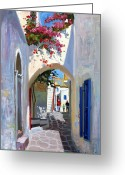Bougainvillea Greeting Cards - Mykonos Archway Greeting Card by Roelof Rossouw