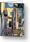 Greece Digital Art Greeting Cards - Mykonos V Greeting Card by Tom Prendergast