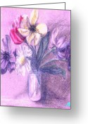 Ocean Art Greeting Cards - Myriad Floral in Jar Greeting Card by Ocean