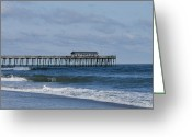 Myrtle Beach South Carolina Greeting Cards - Myrtle Beach State Park Pier Squared Greeting Card by Teresa Mucha