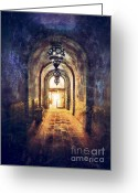 Entrance Door Greeting Cards - Mysterious Hallway Greeting Card by Jill Battaglia