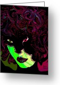 Dark Blue Chin Greeting Cards - Mysterious Masquerade Greeting Card by Natalie Holland