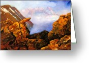 Bears Painting Greeting Cards - Mysterious Mountain Greeting Card by Janis  Tafoya