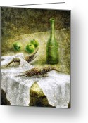 Surrealistic Painting Greeting Cards - Mysterious Movement Greeting Card by Lolita Bronzini