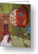 Clock Art Greeting Cards - Mysterious Time Greeting Card by Debbie McCulley