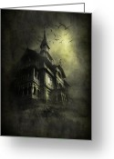 Scary Mansion Greeting Cards - Mystery light Greeting Card by Svetlana Sewell