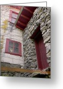 Old Mill Of Guilford Greeting Cards - Mystery Of The Red Door Greeting Card by Sandi OReilly