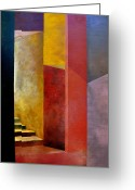 Puzzle Greeting Cards - Mystery Stairway Greeting Card by Michelle Calkins