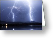 Thunderstorms Greeting Cards - Mystic Lightning Storm Greeting Card by James Bo Insogna